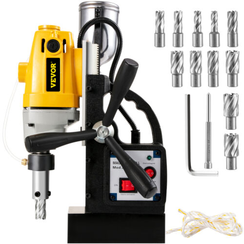 """1100W Commercial Magnetic Drill Press 40mm 1"""" HSS Annular Cutter Set w/ 11pc"""