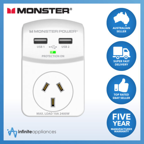 Monster Single Outlet Surge Cube with Dual Surge Protected USB Ports (120084)