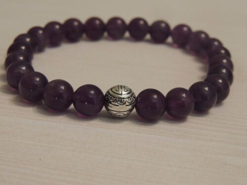 AMETHYST GEMSTONE BRACELET-POWERFUL STONE-MENS-STRETCH-MADE TO ORDER-8MM PURPLE