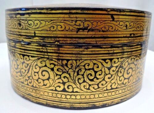 VINTAGE BOX BURMESE LACQUER HAND PAINTED GILT DECORATIVE POLYCHROM COLLECTIBLE