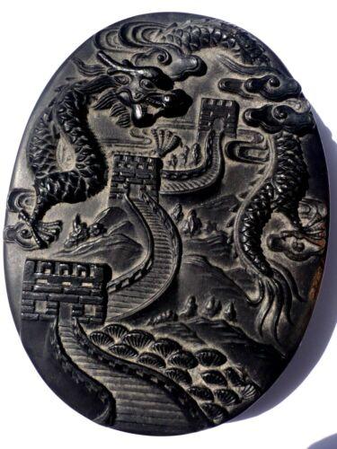RARE, ANTIQUE CHINESE STON  HAND CARVED DRAGON AND CHINESE WALL INK STONE