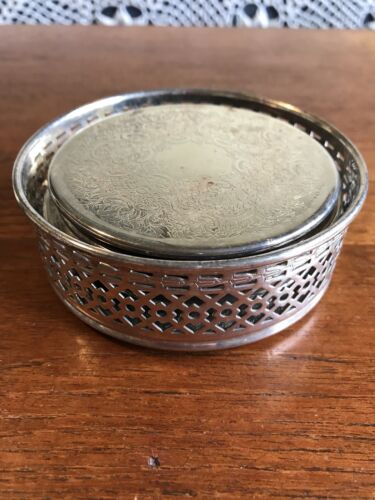 Vintage Six Strachan Silver Plated Drink Coasters and Bottle Holder 1960's