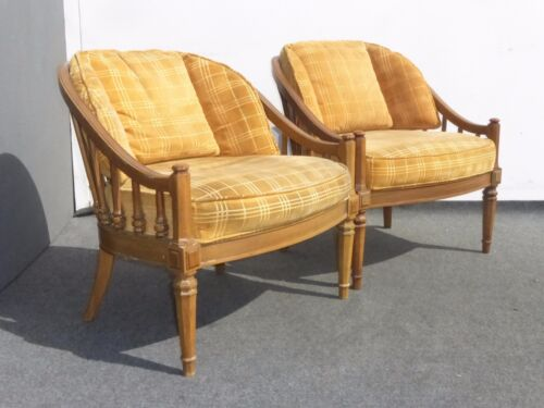 Pair of Vintage Mid Century Modern Yellow Velvet Accent Arm Chairs