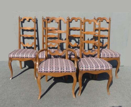 Six Vintage Ethan Allen Style French Country Ladder Back Dining Room Chairs