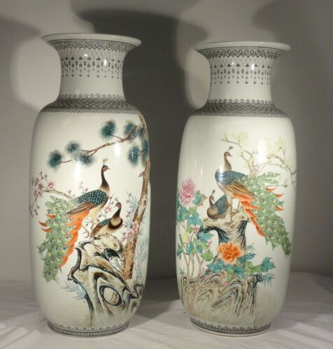 "Massive Vintage Republic Style 20th Century Vases Peacocks 24"" Inches Tall"