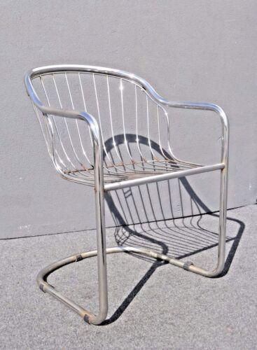 Vintage Designer Cantilever Tubular Chrome Chairs with Wire Seat Back