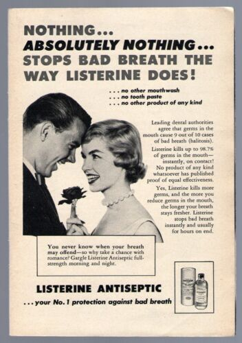 1957 Listerine Antiseptic ad~COUPLE WITH ROSE~MOUTH WASH~FRESH/BAD BREATH
