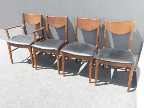 Vintage Mid Century Modern Black Vinyl Dining Room Chairs by Stanley