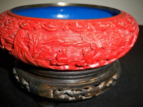 CHINESE*CINNABAR LACQUER*HAND CARVED*CLOISONNÉ ENAMEL*Mid 20th century*BOWL