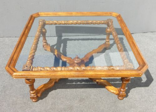 Spanish Style Barley Twist Scalloped Glass Top Coffee Table Unique Oxford Wyman