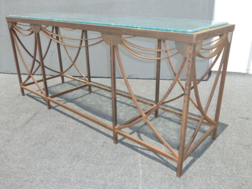 Vintage Designer Metal Industrial Entry Console Sofa Table w Frosted Glass Top