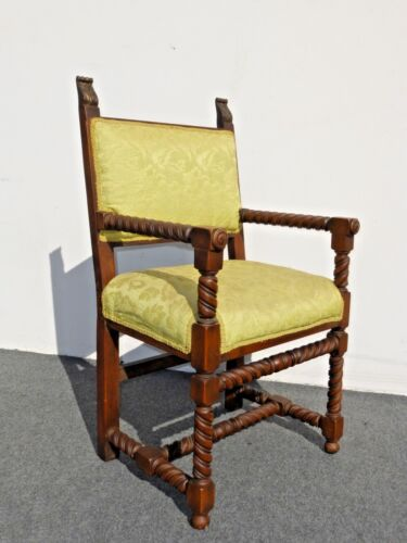 Antique Spanish Style Barely Twist Accent Hall Arm Chair Greenish Gold