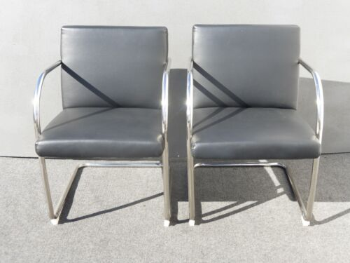 Pair of Vintage Black Vinyl & Chrome Tubular Accent Chairs Brno Style