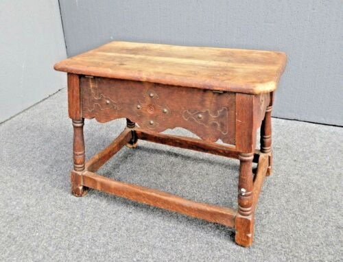 Antique William & Mary Style Wood Bench With Storage Space by Cochran Chair Co.
