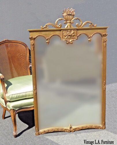 Vintage French Provincial Style Arched Gold Gilt Floral Motif Wood Wall Mirror