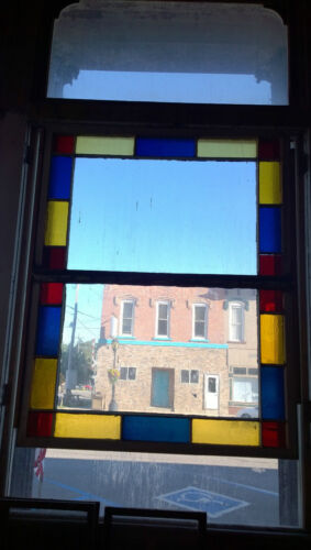 Decorative Vintage Wood Light Window Clear Red Blue Yellow Glass Salvage