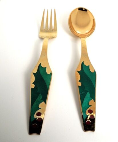 Denmark SORENCO Collection Christmas HOLLY BERRY Fork Spoon Set Sterling Enamel