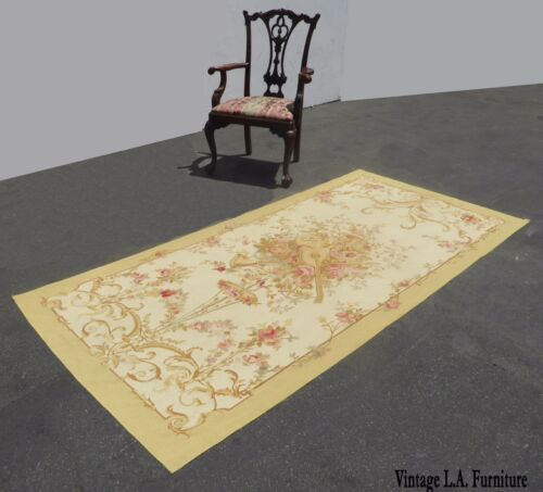 Vintage Hand Knotted Wool Tan Floral Aubusson Tapestry Rug Made In France