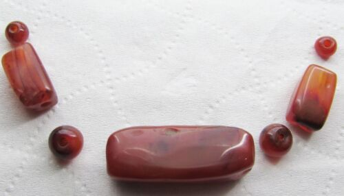 Ancient Carnelian agate beads from Pakistan.