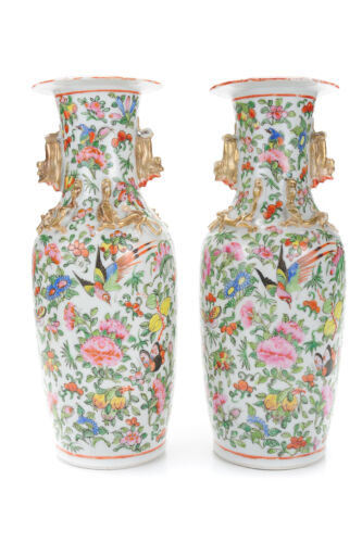 """Chinese 19th century Beautiful antique Porcelain 12"""" Vases - a Pair"""