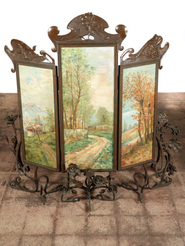 Art Nouveau 3 panel oil Paintings Patinated Bronze Screen w/Grapevine motif-1890