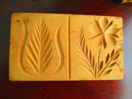Antique Butter Mold - Stamp - Press DOUBLE PRINT  flower TULIP box KITCHEN WARE