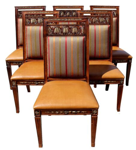Vintage Henredon Dining Chairs w/ Leather Seats & Upholstered Backs, Set of Six