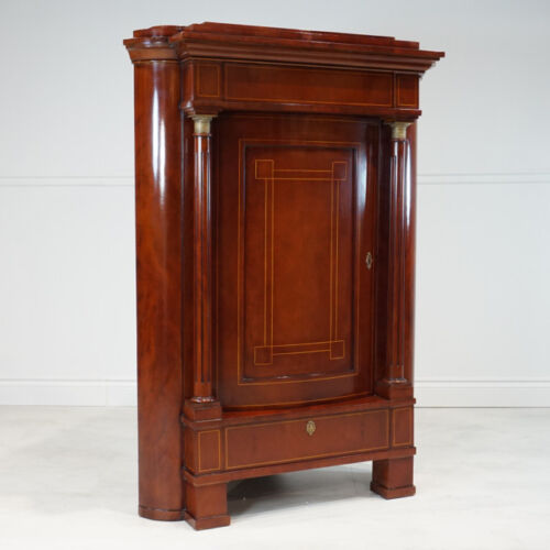 Beautiful Mahogany Empire style corner armoire cabinet with hidden compartments!