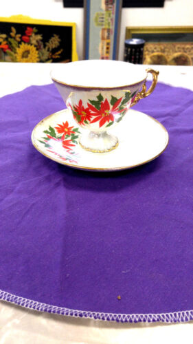 MOTHERS DAY GIFT Coffee cup and matching saucer with a poinsettia flower lefton