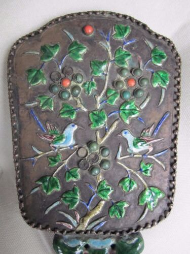Silver and Enameled, Cabochon Mounted, Chinese Hand Mirror, c. 1920!