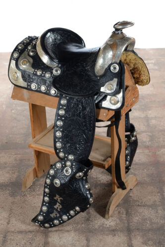 Olsen Nolte -Gorgeous Black Hand Tooled Leather & Sterling Parade Saddle Set