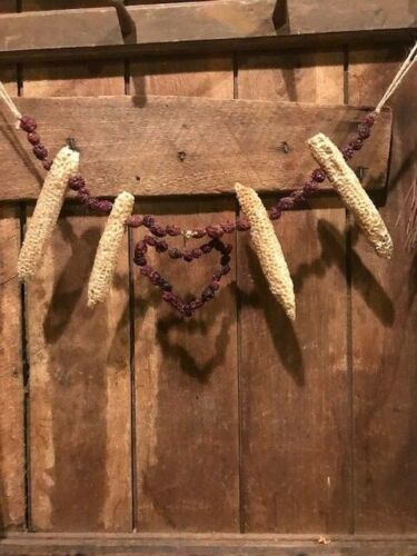 Primitive Heart Garland Early Look Homestead Dried Cob Cranberries Valentine