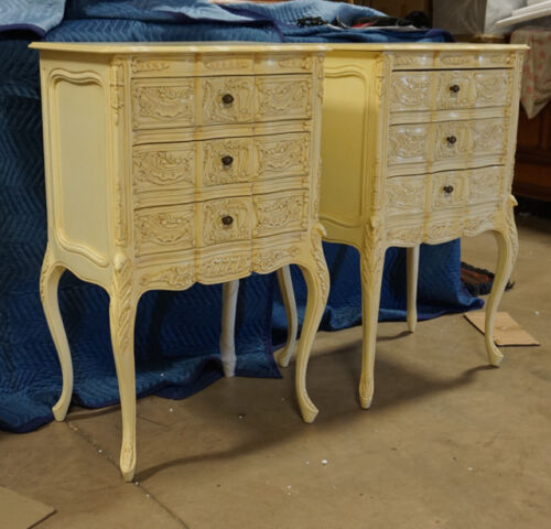 Solid Mahogany Pair of Chest of drawers hand carved Antique White finish