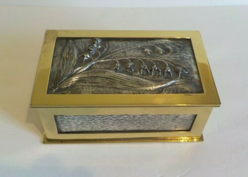 Art Nouveau Polished Brass & Sterling Silver Custom-Made Casket / Box, Signed