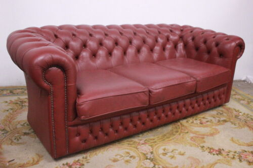 CHESTERFIELD DIVANO CLUB 3 POSTI / CHESTER PELLE ROSA SCURO / INGLESE / ORIGINAL