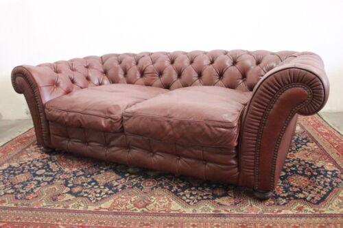 Divano 3 posti chesterfield chester inglese colore marrone / pelle / originale