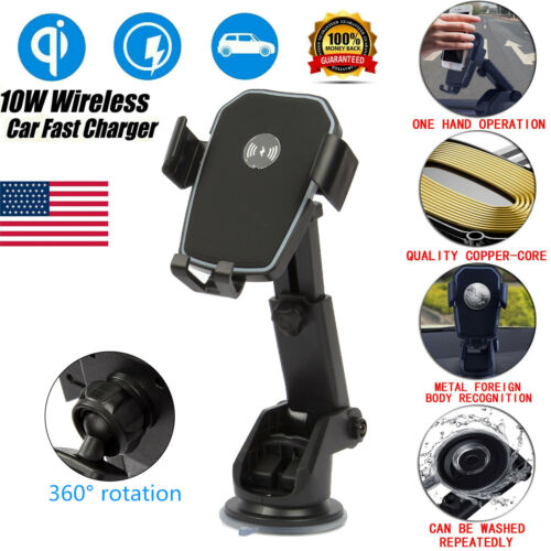 Qi Wireless Automatic Clamping Fast Charging Car Charger Dashboard Mount Holder