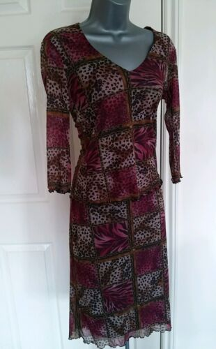 BLOUSE SKIRT SUIT SMALL MEDIUM S M VINTAGE RETRO STRECH PATCHWORK QUIRKY NEW