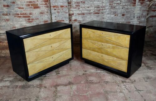 Hollywood Regency ebonized bachelor's Chests Commodes-A Pair