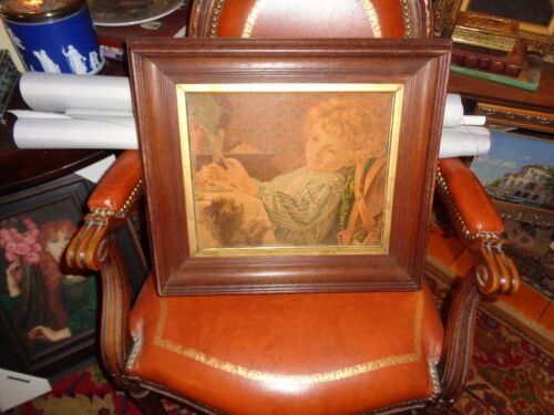 """Antique  Chromolithograph Victorian print """"Innocence w/Dog""""Spectacular frame WOW"""