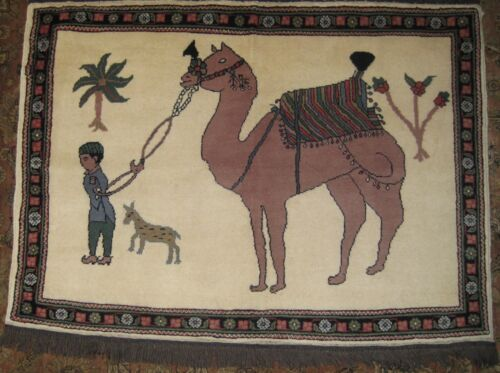 """*REDUCED* Boy Leading Camel Gabbeh Rug, 3'x4'2"""", Hand-Knotted Wool Pile"""