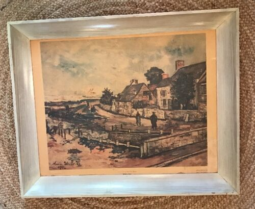 Vintage MAURICE UTRILLO, V 1922 Lithograph of Oil Painting Framed 32 x 26 Signed