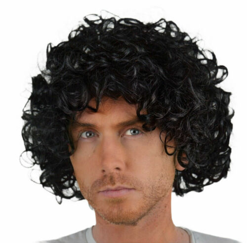 MEN'S BLACK CURLY FANCY DRESS WIG. UK DISP
