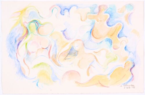 1978 Robert Lohman Watercolor Abstract Figurative Listed Indiana Artist