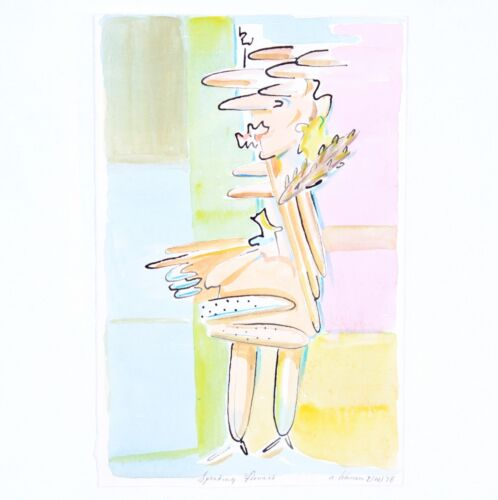 """1978 Robert Lohman Abstract Watercolor """"Speaking Flowers"""" Listed Indiana Artist"""