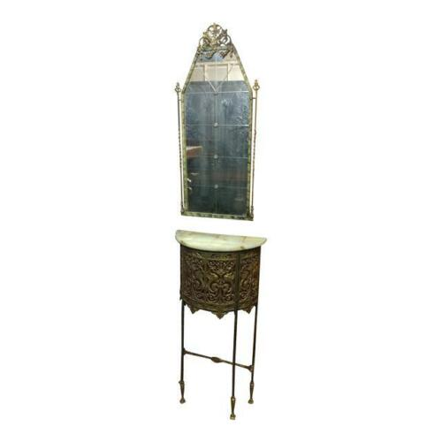 Oscar Bach - Gorgeous Bronze Stand w/marble top & Mirror c.1900