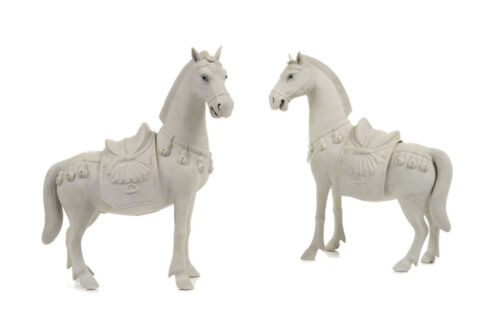 Chinese Rare Bisque Porcelain Horses Figurines with Black enamel Eyes - A pair