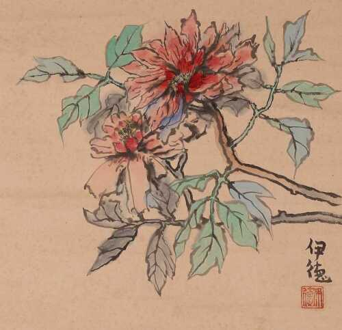 JAPANESE PAINTING Hanging Scroll Picture FLOWER Japan Asian PIC Itoku Tagay c858