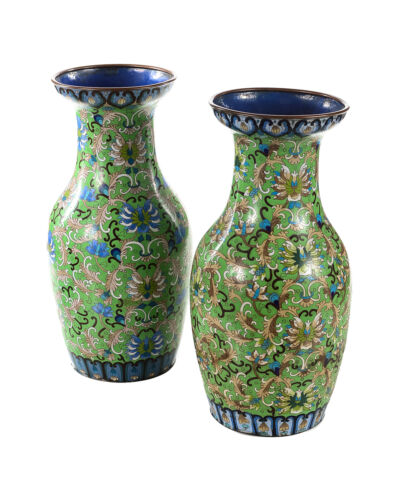 """Pair of Antique 18"""" Chinese Green Vases - Cloisonné"""