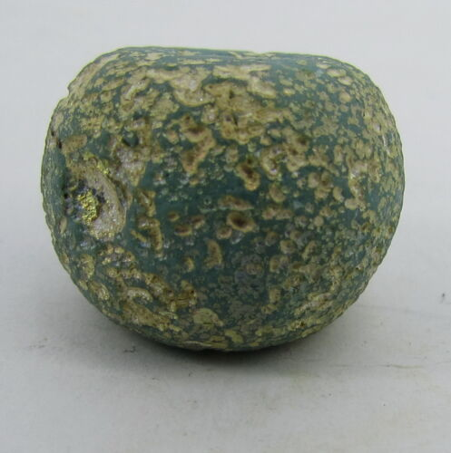 Ancient Roman Glass big bead in turquoise color from Afghanistan.
